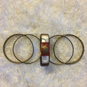 Red & White Marble Ethnic Bangles, Set of 5